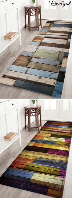 Free shipping worldwide.Colorful Stripes Wood Grain Flannel Rug. #bathrug #mats #bedroom #bathroom #home decor