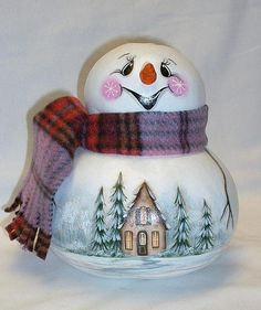Snowman Gourd with Cabin in the Woods Winter Scene  Hand