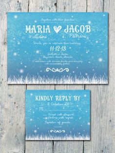 Digital - Printable Files - Fireflies in The Romantic Night -  Wedding Invitation and Reply Card Set - Wedding Stationery. $35,00, via Etsy.