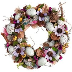 Big Decs Easter Wreath, Lilac ($25) ❤ liked on Polyvore featuring home, home decor, holiday decorations, easter, easter wreath, lavender wreath, lavendar wreath and easter home decor
