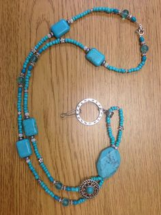 Your place to buy and sell all things handmade Turquoise Necklace, Beaded Necklace, Beaded Lanyards, Name Badges, Badge Holders, My Etsy Shop, Handmade Jewelry, Silver, Color