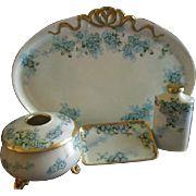 """Porcelain Hand Painted """"Forget-Me-Not"""" Pattern Dresser/Vanity Set - Artist Signed & Dated Dresser Vanity, Dresser Sets, Vanity Set, Antique Vanity, Antique China, Painted Porcelain, Hand Painted, Antique Glassware, Mugs"""