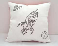 Colouring In Spaceship Design Cushion Cover   Kids Hand Drawn Black & White Cushion   Kids Decor   Kids Craft Activity   Gifts For Kids