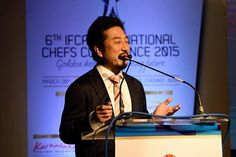 General Manager of Ajinomoto, Mr. Yusuke Yoshinari, gave a brief on Ajinomoto as a company and their product line at the 6th IFCA International Chefs Conference 2015 ‪#‎IFCA2015‬ #chefs #cook #recipes #ITC #Chennai #foodart #chefsart #finedining #chefsmeet #conference #culinary #chefstalk #kitchen #professionals #restaurants #foodculture #foodfest