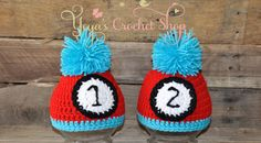 Thing 1 and Thing 2 Crochet Hats,  Twin Baby Accessories, Infant Hats ,toddlers, Photo Prop on Etsy, $40.00