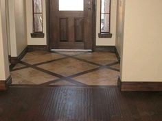 Entryway tile with wood border This is what I want! The tile/wood combo in the entryway and then the matching hardwood in the kitc Style At Home, Tile Design, Tile Floor Designs, Floor Tile Patterns, Wood Design, Pattern Design, My Dream Home, Home Remodeling, Hardwood Floors