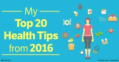 From the 20 most popular articles of 2016, here are the top 20 health tips that can help protect your health and well-being in the years to come. http://articles.mercola.com/sites/articles/archive/2017/01/02/20-top-health-tips-from-2016.aspx
