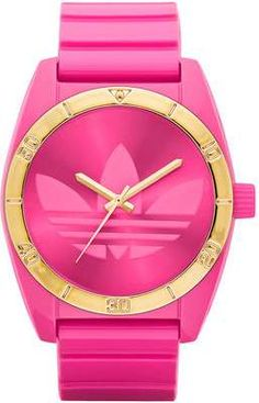 Addidas Hot Pink and Gold Watch - Wantering -- It's okay to accessorize for the gym, right?