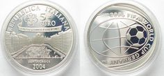 2004 Italien ITALY 5 Euro 2004 Santa Croce FOOTBALL WORLD CUP silver Proof # 96083 Proof