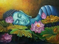 Reclining Buddha in its thoughts. by Usha Mishra - Reclining Buddha in its thoughts. by Usha Mishra - Lotus Painting, Buddha Painting, Krishna Painting, Buddha Kunst, Buddha Zen, Buddha Artwork, Fall Arts And Crafts, Spiritual Paintings, Reclining Buddha