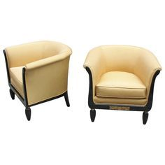 Pair of Comfortable French Art Deco Bergeres/Club Chairs | From a unique collection of antique and modern bergere chairs at http://www.1stdibs.com/furniture/seating/bergere-chairs/