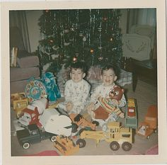 Antique Vintage Photograph Two Little Boys Sitting With Toys By Christmas Tree