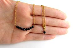Gold choker necklace with black aventurine stone by arrowsrain