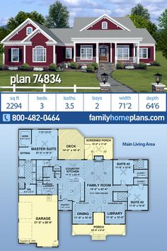 Plan Country Home Plan, 2294 sq., 3 Bedrooms, Bathrooms HUGE Bonus Space - Country home plan with an split bedroom design and great outdoor gathering space. A 2294 sq. Family House Plans, Ranch House Plans, Country House Plans, New House Plans, House Floor Plans, Farmhouse Plans, Country Farmhouse, Modern Farmhouse, House Foundation