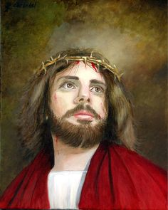Jesus with the crown of thorns oil painting by Cecilia Brendel www.ceciliabrendel.com