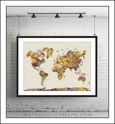 WORLD MAP, Map of the World, Large World Map, World Map Poster, World Map Print, Watercolor Map, Painted Map, Map Art, Painted Map No.1 on Etsy, $22.50