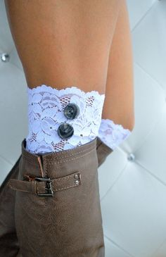 White Lacey Boot Cuffs with buttons
