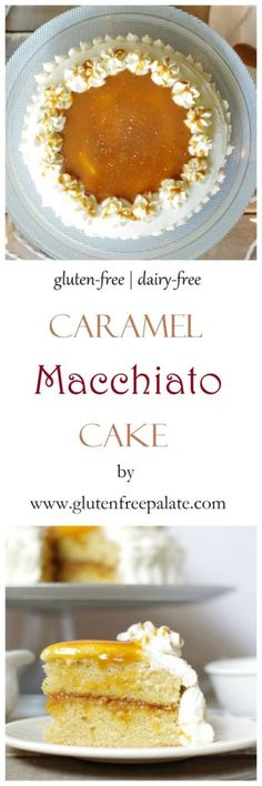 The delicious gluten-free dairy-free Caramel Macchiato Cake is bursting with caramel and coffee flavors and is topped with a dense creamy vanilla bean frosting. via Gluten-Free Palate Best Gluten Free Recipes, Gluten Free Cakes, Gf Recipes, Gluten Free Baking, Gluten Free Desserts, Cake Recipes, Dessert Recipes, Healthy Desserts, Healthy Food
