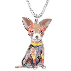 Bonsny Love Pets Enamel Zinc Alloy Metal Chihuahua Necklace Dog Animal pendant Exclusive Design (Brown): Design and produce by BONSNY We design special fashion jewelry for Women and Girls. Each design is Unique . Dog Necklace, Long Chain Necklace, Necklace Types, Pendant Necklace, Enamel Jewelry, Charm Jewelry, Jewellery, Boho Jewelry, Jewelry Shop
