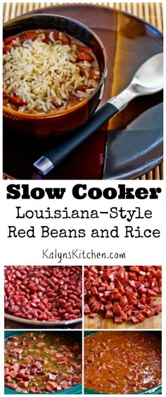 This easy Slow Cooker Louisiana-Style Red Beans and Rice is a recipe I've been making for years, and it's always a hit! PIN THIS NOW so you'll have it for Back-to-School.  (Dairy-Free, Gluten-Free, Can Freeze) [from KalynsKitchen.com] Cajun Recipes, Slow Cooker Rice Recipes, Rice Recipes For Dinner, Slow Cooker Beans, Creole Recipes, Louisiana Recipes, Crockpot Meals, Southern Recipes, Bean Recipes