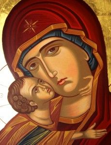 """""""The Virgin Mary in the Orthodox view is not regarded as a mediatrix or co-redemptress. She is an intercessor for us, and the content of prayer addressed to her is a request for her intercession. The Orthodox concept of the Church is the basic reason for the invocation of the Theotokos and all the saints. The Militant Church on earth and the Victorious Church in heaven are intimately bound together in love."""" -Archbishop Dmitri"""