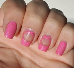 Recreation of Prima ballerina pink French tip nail art