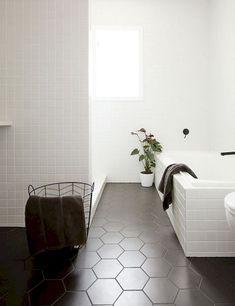 Kitchen Interior Design Remodeling Kitchen Trend We Love: Black Tiles with Black Grout Bathroom Floor Tiles, Bathroom Inspiration, Flooring, Tile Trends, Interior, Bathrooms Remodel, Kitchen Trends, White Tiles, Bathroom Design