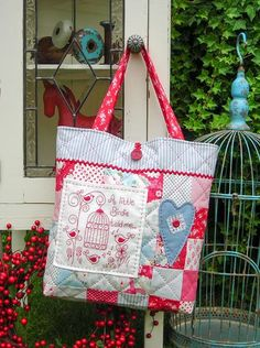 """A Little Birdie"" by Sally Giblin of The Rivendale Collection. Verse reads: A little birdie told me... Finished bag size: 16"" x 23½"" #TheRivendaleCollection stitchery, appliqué and patchwork patterns. www.therivendalecollection.com.au"