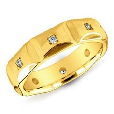 14K Yellow Gold Square Shape Men's Diamond Accented Ring