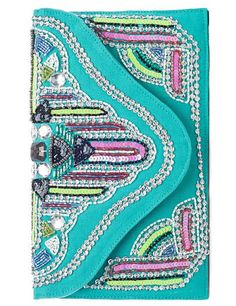 Turquoise Boho Beaded Clutch Purse <3 SO Pretty!  Oh my  gosh, I love this, at first I thought it was a journal!! Now I'll have to have make one for myself!