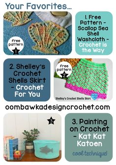 Your Favorites: Scallops, Sea Shells + Paint on Crochet? Check them out here! Free Patterns too! As seen on Link and Share Wednesday Party 150.