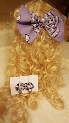 www.Etsy.com/shop/WEEDsByRose: Hair Bow, Bandana Hair Bow and Earring Set, Hair Bow with Matching Jewelry https://etsy.me/2PG6V0r #accessories #hair #purple #birthday #christmas #silver #hairaccessories #hairbow #hairaccessory