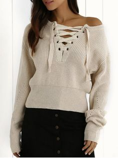 Ribbed Lace Up Cropped Jumper - OFF-WHITE ONE SIZE