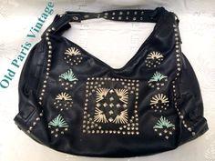 20% OFF Vintage 1980's Avant Garde Studded Embroidered Black Leather Purse Handbag Punk Hipster by OldParisVintage on Etsy