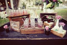 20 Wedding Traditions You Can Skip - Wedding Ceremony Traditions - Punch, water, tea, etc. available before wedding Signature Cocktail, Shabby Chic Wedding Decor, Rustic Wedding, Deco Table, A Table, Drink Table, Wedding Ideias, Recycle Your Wedding, Before Wedding