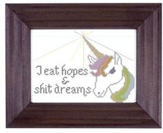 mature cross stitch pattern Unicorn I Eat Hopes by pickleladyfarm