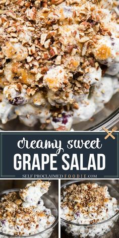 Grape Salad, made with a mixture of fresh grapes smothered in sweetened cream cheese and sour cream topped with brown sugar pecans, is the perfect potluck side dish! This recipe can feed a crowd and… More