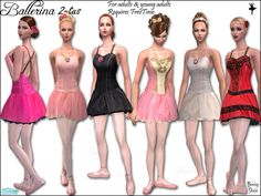 Six ballet tutus ideal for FreeTime dance hobby or career. For adults and young adults. Requires FreeTime.  Found in TSR Category 'Sims 2 Downloads'