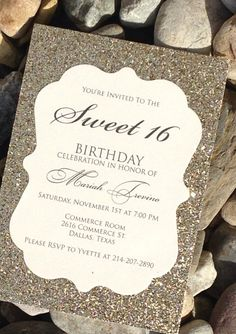 Dazzle your guests with this Gold Glitter invitation..bridal shower instead of sweet 16 of course