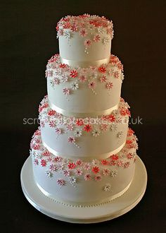 Pink Daisy Wedding Cake - by PJScrumptiousCakes @ CakesDecor.com - cake decorating website