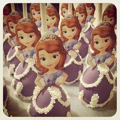 Sophia the First cake pops