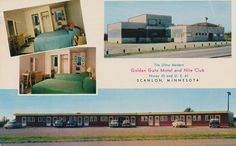 Golden Gate Motel and Nite Club - Scanlon, MN  The ultra modern Golden Gate Motel and Nite Club located at junction of Highway 46 and U.S. 61 at Scanlon, MN. Convenient stop-over for travelers enroute the vacation area of Northern Minnesota. Excellent food at reasonable rates. Mailed from Cloquet, Minnesota to Mrs. Laura Renaga of Goshen, IN, 6/13/61: Dear Mom.  We are staying here tonite. It is really beautiful here. Haven't seen a deer. On over way toward Canada. Love, Betty & Paul