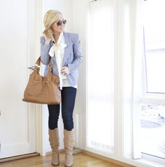 blue blazer + leggings + boots + braid