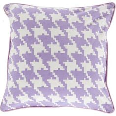 Libby Langdon Digital Houndstooth Hand Crafted Geometric Cotton Decorative Pillow, Mauve, Purple