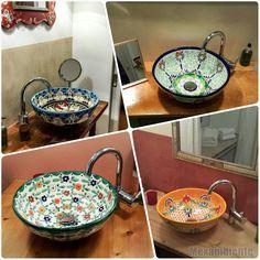 Mit traditionellen Mustern verziert, sind mexikanische Waschbecken von Mexambiente ganz besondere Blickfänger im Bad oder in jedem Gäste-WC. Lassen Sie sich von den leuchtenden Farben und kunstvollen Mustern, die in sorgfältiger Handarbeit in  ...