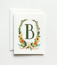 Floral Monogram Cards - Letter B, from Rifle Paper Co Rifle Paper Company, Letter B, Word Art, Note Cards, Hand Lettering, Paper Art, Stationery, Typography, Anna Bond