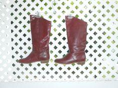 Halston lll Designer Boots Womens Leather Boots Vintage Leather Boots Brown Leather boots 70s Boots 80s Boots Pull On Boots by ZasuVintage on Etsy