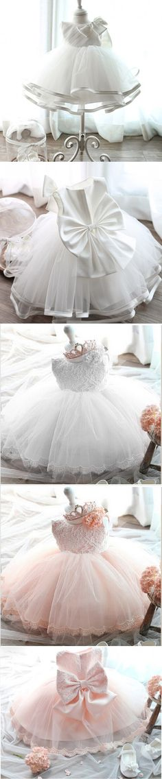 2016 White Baptism Formal Wear Wedding Princess Kids Dress for Girls Clothes Girl Dresses Birthday Children Clothing Party Dress $10.98