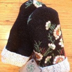 Upcycled Wool Sweater Mittens Black boiled wool w/ by OldWoolNew
