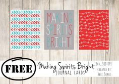 Making Spirits Bright Journal Cards - Free Printable - December daily - Project Life - Pocket Scrapbooking